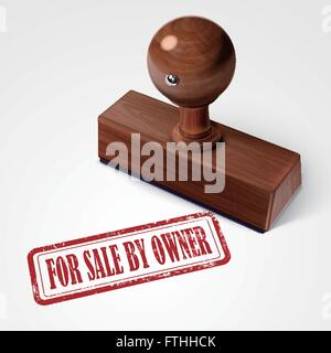 stamp for sale by owner in red over white background - Stock Photo
