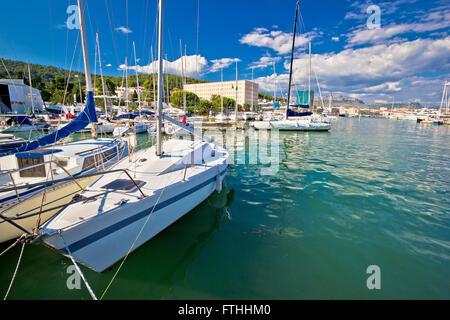 Sailing marina in Split waterfront, Dalmatia, Croatia - Stock Photo
