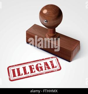 stamp illegal in red over white background - Stock Photo