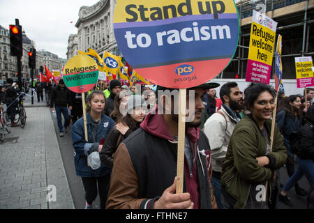 Demonstrators at Anti-racism Day demonstration led by Stand Up To Racism on 19th March 2016 in London, United Kingdom. - Stock Photo