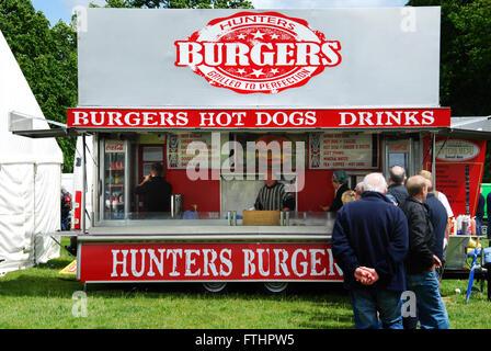 Burger stall at Morris Centenary celebrations at Cornbury Park, Charlbury Oxford, United Kingdom - Stock Photo