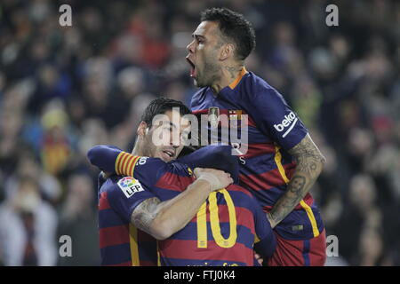Barcelona, Spain, January 27, 2016: King's Cup: congratulation after the goal of Luis Suarez - Stock Photo