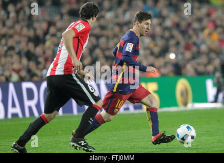 Barcelona, Spain, January 27, 2016: King Cup Lionel Messi at Camp - Stock Photo