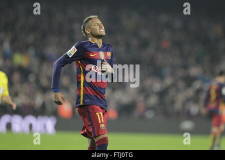 Barcelona, Spain, January 27, 2016: King Cup Neymar jr actio during the match between FC Barcelona - Atlético Bilbao - Stock Photo