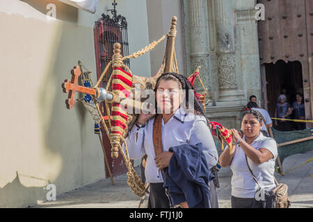 Women on their way to the Holy Friday procession in Oaxaca, Mexico. - Stock Photo
