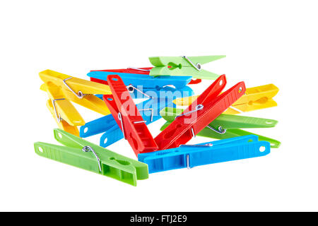 Set color clothes-pegs over white - Stock Photo