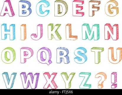 Alphabet Set 3d Form Hand Drawn Vector Sketch Font For School Abc Learning Or Graphic
