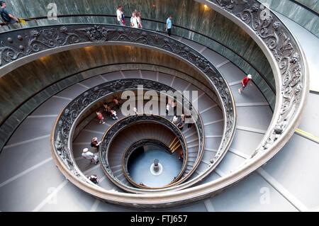 Italy, Lazio, Rome, Vatican, Vatican Museum Spiral Staircase - Stock Photo