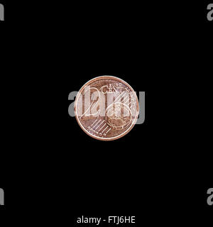 2 Euro cent coin on black background - Stock Photo