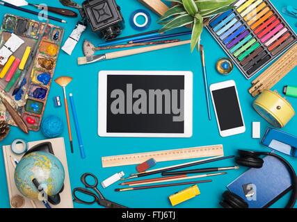 Creative responsive design tablet hero header - Stock Photo