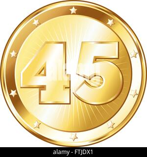 Round circle shaped metal badge / seal of approval in a gold look and the number forty-five. - Stock Photo