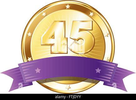 Round circle shaped metal badge / seal of approval in a gold look with a purple ribbon and the number forty-five. - Stock Photo