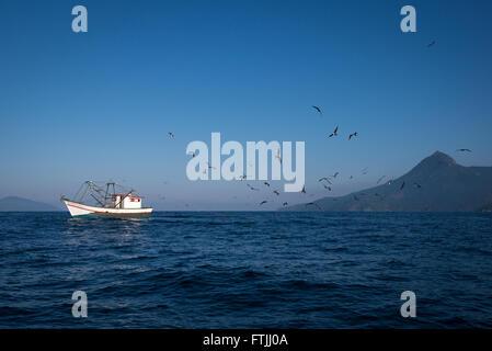 A fishing boat dragging a shrimp net off Ilhabela, SE Brazil. Birds like boobies and frigatebirds are following - Stock Photo