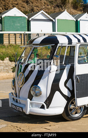 1963 black and white Volkswagen campervan parked on promenade at Bournemouth in March - Stock Photo
