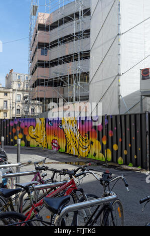 Montpellier, Languedoc-Roussillon, France 29th March 2016. The hoarding of Laissac Halles, four street artists Honk, - Stock Photo