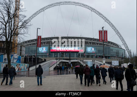 London, UK.  29 March 2016.  Ahead of the friendly match between England and the Netherlands, Wembley Stadium welcomes - Stock Photo