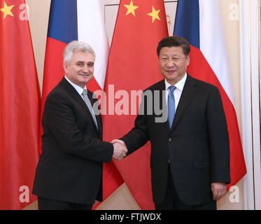 Prague, Czech Republic. 29th Mar, 2016. Chinese President Xi Jinping (R) meets with Milan Stech, president of the - Stock Photo