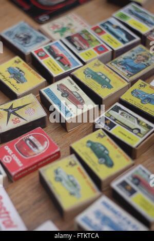 Old matchboxes for sale at Beaulieu Autojumble - Stock Photo