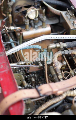 Internal gubbins of a fantastically detailed antique model speed boat - Stock Photo