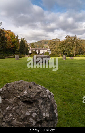 Plas Newydd Llangollen and the Gorsedd Stone circle home of The Ladies of Llangollen - Stock Photo