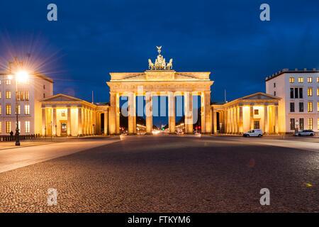 Brandenburg Gate (Brandenburger Tor), Berlin, Germany at twilight - Stock Photo