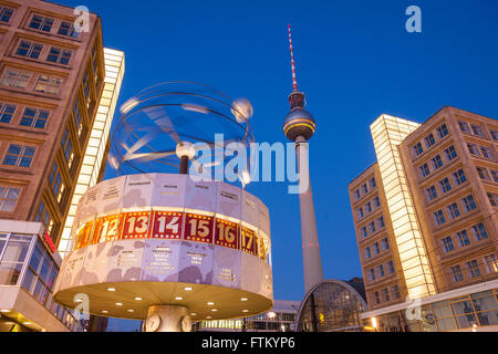 Berlin's Alexanderplatz, Weltzeituhr (World Time Clock), and TV Tower - Stock Photo