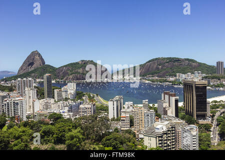 Cove of Botafogo in Guanabara Bay with Sugar Loaf and Urca in the background - Stock Photo