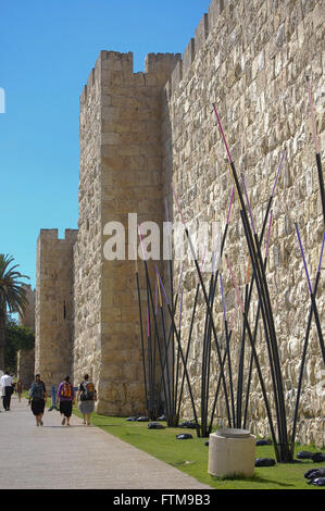 Detail of the wall surrounding the old city of Jerusalem - Stock Photo
