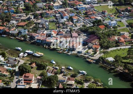 Vista aerea do canal da Barra da Lagoa da Conceicao