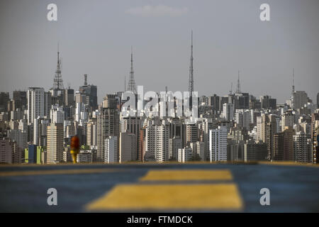 View of the region of Paulista Avenue from helipad - Stock Photo