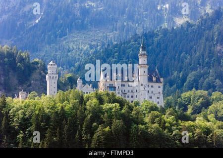 View to Schloss Neuschwanstein castle in forested Bavarian Alps. Schwangau, Allgaeu, Fussen, Bavaria, Germany, Europe. - Stock Photo