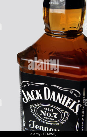 Jack Daniels displayed against a white background - Stock Photo