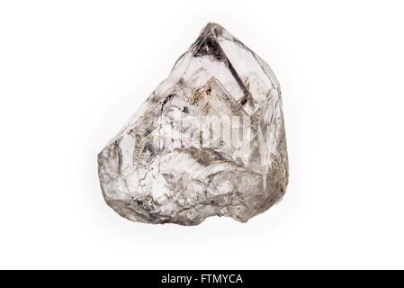 Quartz crystal specimen on white background - Stock Photo