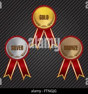 Gold, Silver & Bronze Medals with Ribbons - Stock Photo
