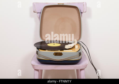 Turntable on chair - Stock Photo