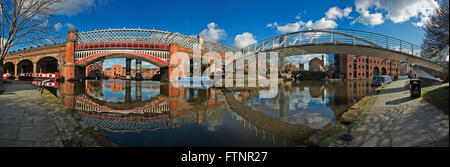 Panorama Victorian railway viaducts and bridges in the Castlefield basin Manchester - Stock Photo