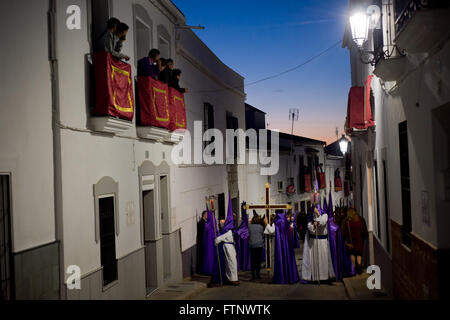 Procession for Good Friday by the streets of the Andalusian village of Fuente Obejuna. - Stock Photo