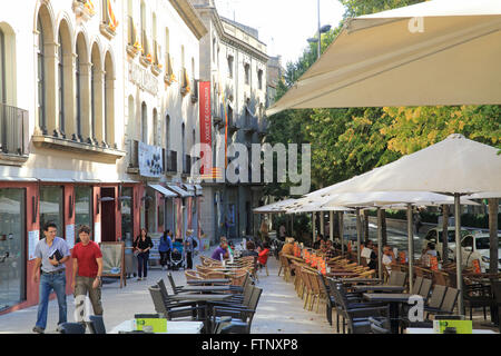 A  cafe on La Rambla, in Figueres, in Catalonia, on the Costa Brava, in Spain, southern Europe - Stock Photo