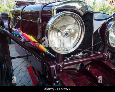 Merano, Italy - July 9, 2015: Spotlight of the Riley Ulster IMP. in Merano during the South Tyrol classic cars rally - Stock Photo
