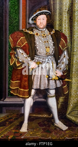 King Henry VIII. Portrait of Henry VIII of England (1491-1547) by the workshop of Hans Holbein the Younger, c 1537 - Stock Photo