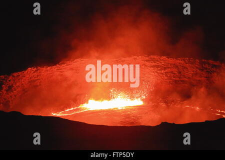 World longest existing burning lava lake dating from 1906 in the Erta Ale basaltic shield volcano at 613 ms.-Danakil - Stock Photo