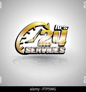 Arrow Oval Service 24H Icon, Badge, Label or Sticker for Customer Service, Support or CRM Concept, services everyday - Stock Photo