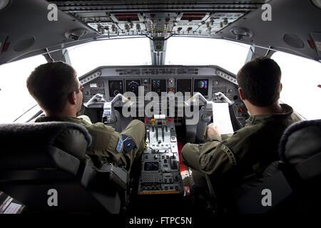 Cockpit Aircraft Embraer ERJ 145 C-99 FAB Forca Aerea Brasileira - Stock Photo