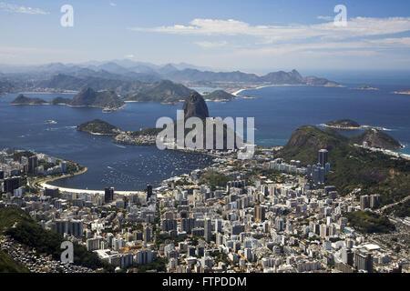 Cove of Botafogo in Guanabara Bay - Pao de Acucar and Morro da Urca - Stock Photo