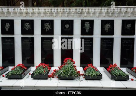 BAKU, AZERBAIJAN - JANUARY 20 2014 Carnations on graves of civilians killed in massacre in Baku, on anniversary - Stock Photo