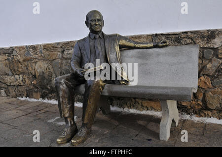 Sculpture of the former President of the Republic on the side of Tancredo Neves Memorial that bears his name - Stock Photo
