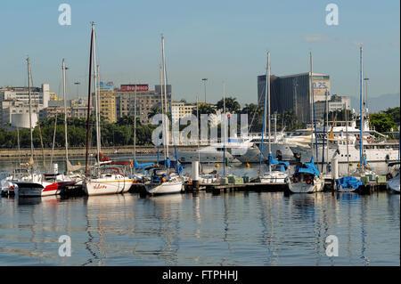 Boats moored in the Gloria of the city of Rio de Janeiro Marina - Stock Photo