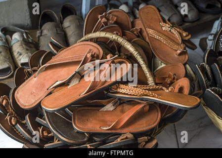 Leather sandals and slippers for sale in Feira de Caruaru - Stock Photo