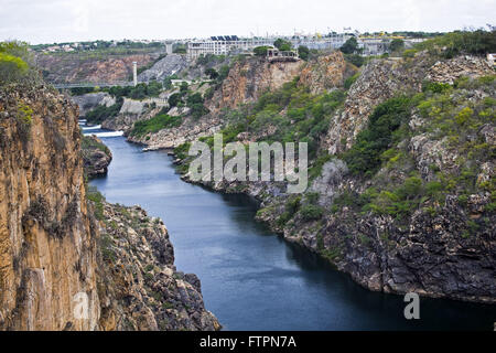 Sao Francisco River bed in period of drought - backlands of Bahia - Stock Photo