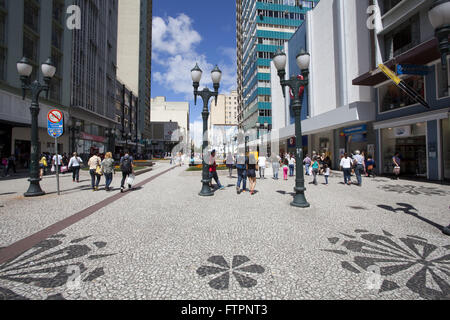 Rua das Flores - boardwalk in historic center - Stock Photo